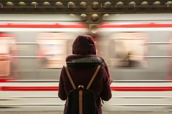 girl waiting for train
